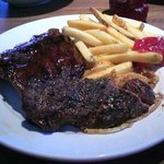 Baby back ribs, sirloin steak, fries