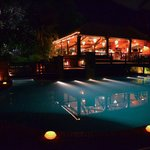 Pool and Barbecue by night