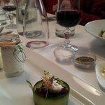 Beetroot & cucumber timbale with smoked mackerel pâté