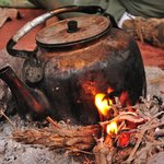 Bedouin tea prepared on the open-fire