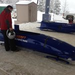 Bobsled in staging area
