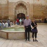 Beautiful courtyard and fountain at Saruhan Caravanserai in Turkey