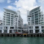 Hilton on left, Auckland Waterfront Apartment on left