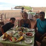 Having Breakfast really nice with view to the beach