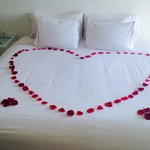 Hearts on bed when we arrived