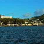 Bluebeard's Castle resort, viewed from downtown Charlotte Amalie's waterfront.