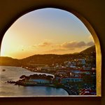 Sunset view of Charlotte Amalie from the fourth floor archway at the hotel.