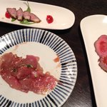 Trio of meat appetizer