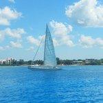 a passing sailboat