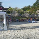 Wedding on Beach with reserved sunloungers