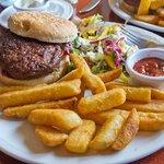 Haggis & Lamb Burger, Chips & Salad