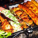 Mix Grill for four persons  L-R - Sheesh Towk, Behari Tikka, Cheese Kebab, BBQ Wings, Seekh Keba