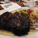 Coffee Marinated Ribeye Cajun & Brown Sugar rubbed, twice baked potato casserole, seasonal ratat