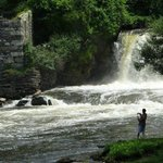 Angling at the waterfall in Middlebury village