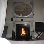 gorgeous fireplace view from bed
