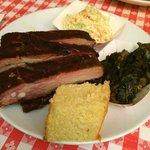 Bourbon BBQ ribs with collard greens and slaw...