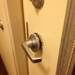 Broken doorknob that our two-year-old enjoying playing with