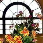 Lobby Window with flower arrangement