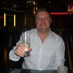 enjoying a drink.