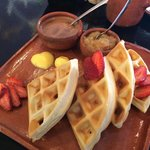 Waffles with chocolate & strawberries!