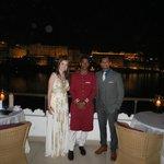 Enjoying a dinner at Bhairo - with a member of Taj Lake Palace staff