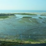 view from room at low tide showing mud flat