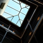 Looking up the atrium of hotel