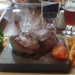 Stone grilled seak