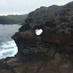 The rock with the heart shape in it from afar.