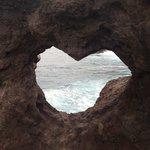 The heart shaped rock.