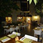Patio view looking towards restaurant