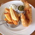 Fish and chips, complete with miniature frying basket.