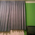 And here is the wonderful colour scheme, showing the odd length of the curtains