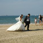 Wedding photos on the beach at Deauville