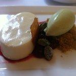 Lemon mousse, cherry compote, pistacchio sorbet