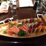 Beautiful presentation, irresistible sushi and sashimi.