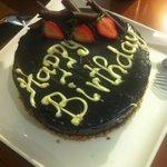 Birthday cake prepared by the hotel