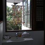 Decorative yet very open-air bathroom