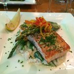 Pistachio encrusted Salmon with Aspragas and risotto