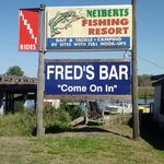 The boat launch is outside of Fred's Bar go to the bar and pay for your reservation and go outsi