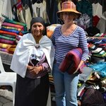 Nathalie with a local vendor from which we purchased a few blankets!