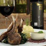 The Orient Syrah and grilled lamb rack
