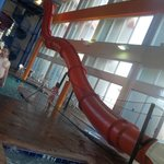 water slide from hell...in the palms bldg-not for small kids