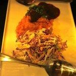 Beef ,sweet potato and coleslaw.