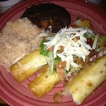 Chimichangas, rice and beans