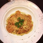 spaghetti bolognese with large meatballs