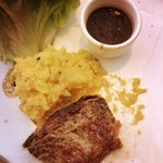 sirloin steal with mashed potato