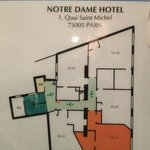 layout for floors 2-5, rooms ending with 2 are corner rooms facing Notre Dame