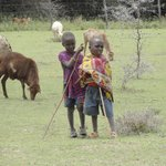 Masai children looking after their animals