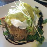 Potato hash cakes with poached eggs